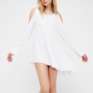 Free People White Cold Shoulder Tunic Dress